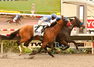 Points Offthebench and jockey Mike Smith, right, hold off Goldencents (Kevin Krigger), left, to win the Grade I, $300,000 Bing Crosby Stakes, Sunday, July 28, 2013 at Del Mar Thoroughbred Club, Del Mar CA. BENIOT PHOTO